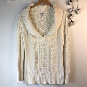 Caslon Ivory Cotton Blend Cowl Neck Sweater L